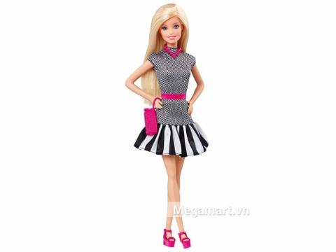 Bộ đồ chơi Barbie Fashionistas - Váy họa tiết đen trắng là món quà tuyệt vời cho bé từ 3 tuổi trở lên