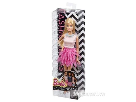 Hộp nhựa đựng bên ngoài Barbie Fashionistas - Váy hồng