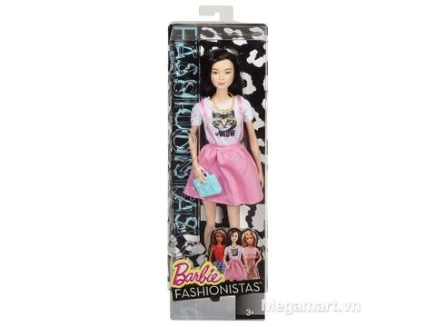 Hộp đựng bên ngoài của Barbie Fashionistas - Váy hồng áo Meow