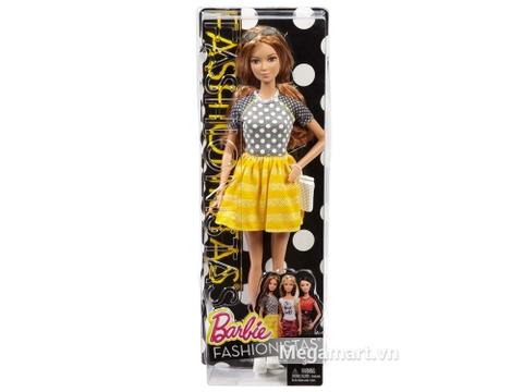 Hộp nhựa đựng Barbie Fashionistas - Váy vàng & áo chấm bi