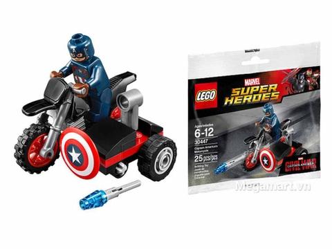 Lego Super Heroes 30447 - Mô-tô của Captain America - toàn bộ các chi tiết trong bộ đồ chơi
