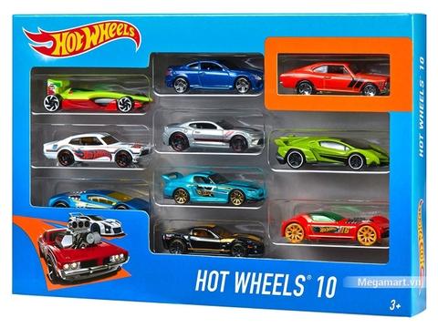 Hot Wheels Bộ 10 siêu xe 54886 - Hình ảnh vỏ hộp sản phẩm với 10 xe có thể nhìn thấy