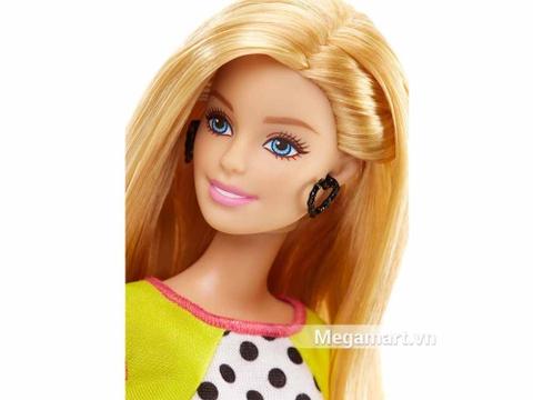 Barbie Fashionistas - Váy áo chấm bi - mái tóc dịu dàng của búp bê