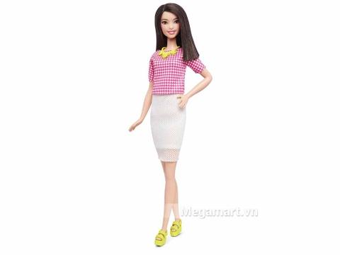 Barbie Fashionistas Váy trắng Áo hồng - Cao - hình ảnh búp bê