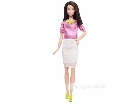 Barbie Fashionistas Váy trắng Áo hồng - Cao - Vỏ hộp sản phẩm