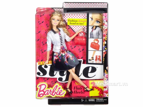 Barbie Style - Áo sọc váy hoa với vỏ hộp và đóng gói chắc chắn