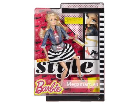 Barbie Style Váy kẻ sọc với vỏ hộp và đóng gói chắc chắn