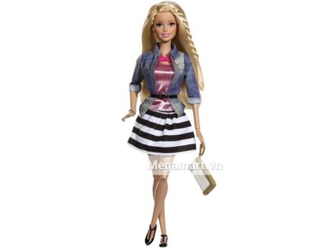 Barbie Style Váy kẻ sọc gồm nhiều chi tiết đẹp