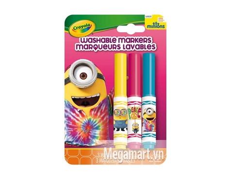 Hình ảnh vỏ ngoài của Crayola Bộ 3 bút lông Minions đỏ, vàng và xanh dương - tẩy rửa được