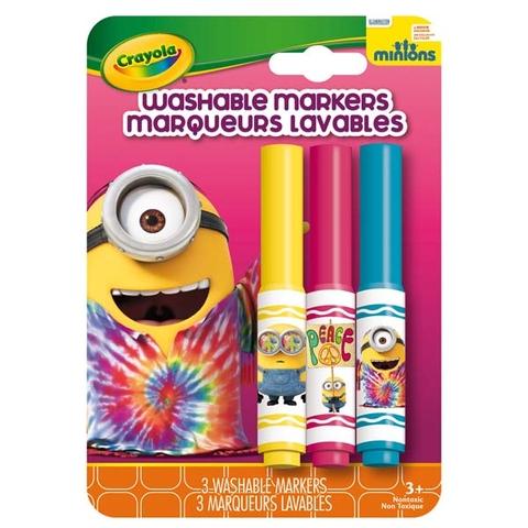 Crayola Bộ 3 bút lông Minions đỏ, vàng và xanh dương - tẩy rửa được cho bé yêu tô màu