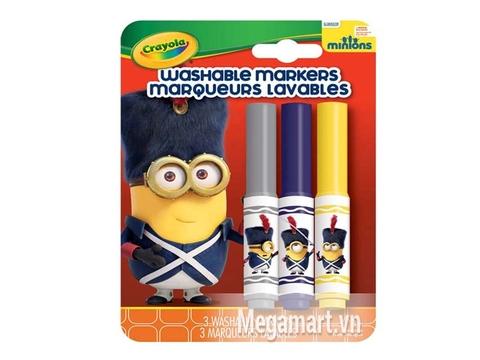 Crayola Bộ 3 bút lông Minions xám, xanh tím và vàng - tẩy rửa được phù hợp với bé từ 3 tuổi trở lên