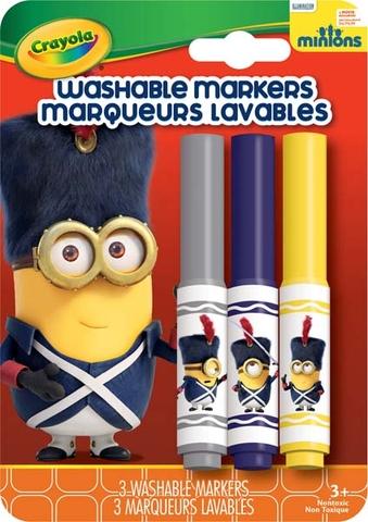 Hình ảnh vỏ ngoài của Crayola Bộ 3 bút lông Minions xám, xanh tím và vàng - tẩy rửa được