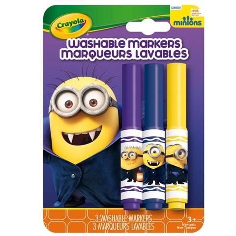 Hình ảnh vỏ ngoài của Crayola Bộ 3 bút lông Minions xanh dương, tím và đỏ - tẩy rửa được