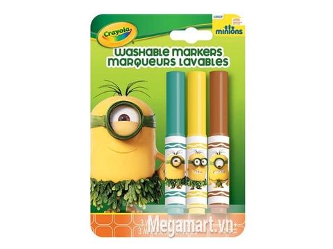 Crayola Bộ 3 bút lông Minions xanh lá, vàng và đỏ - tẩy rửa được dành cho bé thích vẽ tranh