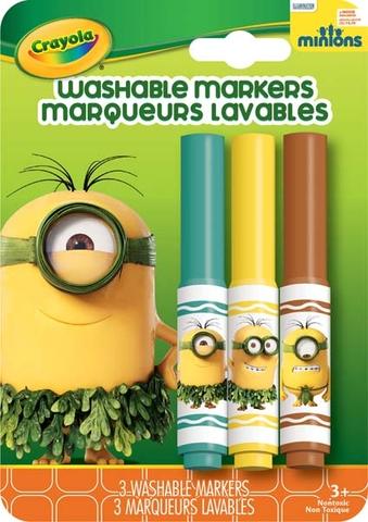 Hình ảnh vỏ ngoài của Crayola Bộ 3 bút lông Minions xanh lá, vàng và đỏ - tẩy rửa được