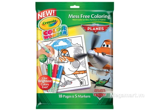 Thiết kế ấn tượng của Crayola Bộ bút giấy tô màu Color Wonder hình máy bay