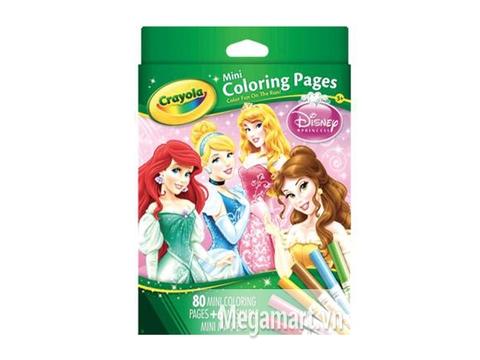Hộp đựng bộ Crayola Bộ bút giấy tô màu hình công chúa - 6 bút lông mini và vở tô màu