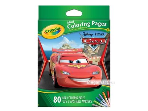 Thiết kế ấn tượng của Crayola Bộ bút giấy tô màu hình xe hơi (6 bút lông mini, vở tô màu 80 trang)
