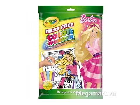 Hình ảnh vỏ ngoài của Crayola Bộ bút lông Color Wonder 5 bút và giấy tô màu 18 trang hình Barbie