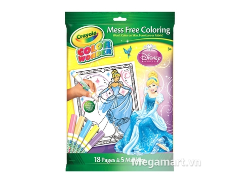 Crayola Bộ bút lông Color Wonder 5 bút và giấy tô màu 18 trang hình công chúa