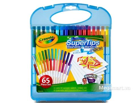 Crayola Bộ bút lông tô màu Supertips 25 bút lông và 40  tờ giấy tô màu dành cho bé yêu vẽ tranh