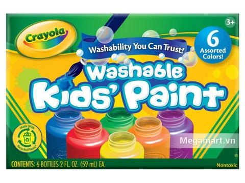 Hộp đựng bộ Crayola Bộ màu nước dạng lọ 6 màu