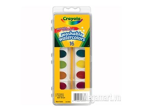 Hộp đựng Crayola Bộ màu nước dạng vỉ 16 màu có cọ vẽ đi kèm - tẩy rửa được