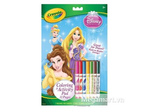 Hộp đựng Crayola Bộ tô màu hình công chúa Disney - 7 bút lông và 32 trang giấy tô màu