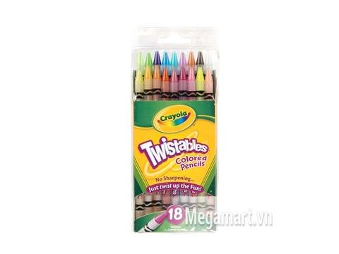 Hình ảnh vỏ nhựa ngoài của Crayola  Bút chì dạng vặn 18 màu