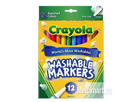 Hộp đựng Crayola Bút lông 12 màu nét mảnh - tẩy rửa được