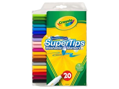 Hộp đựng bộ Crayola Bút lông 20 màu vẽ nét dày, mảnh - tẩy rửa được