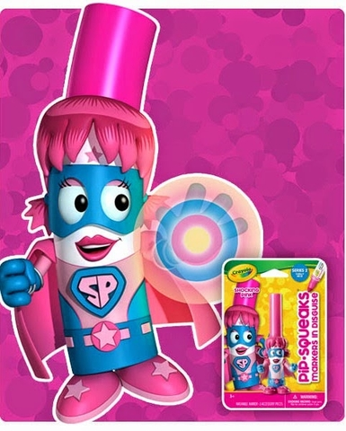 Crayola Bút lông hình nhân vật - Siêu nhân Pink an toàn giúp bé phát triển tư duy