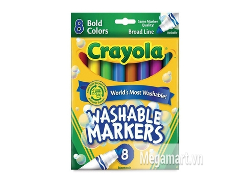 Hộp đựng Crayola Bút lông nét dày loại 8 màu - tẩy rửa được