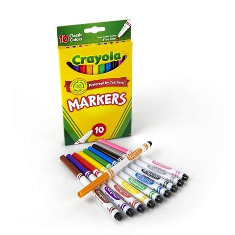 Crayola Bút lông nét mảnh 10 màu phù hợp độ tuổi từ 3+