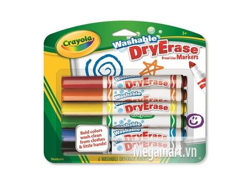 Hình ảnh vỏ ngoài của Crayola Bút lông viết bảng 6 màu - tẩy rửa được