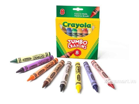 Crayola Bút sáp 8 màu loại lớn dễ vẽ trên mọi loại giấy
