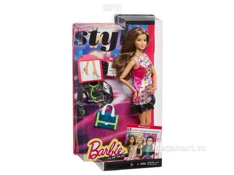 Chi tiết bộ đồ chơi Barbie Style Glam váy hồng Retro