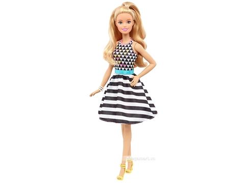 Barbie Fashionistas - Áo họa tiết caro váy sọc - Ảnh chi tiết búp bê