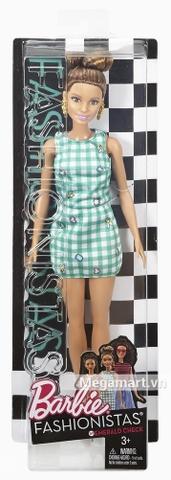 Barbie Fashionistas - Váy kẻ xanh ngọc bích - Vỏ hộp