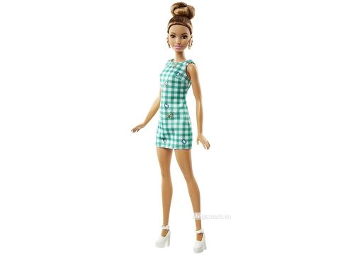Barbie Fashionistas - Váy kẻ xanh ngọc bích - hình búp bê