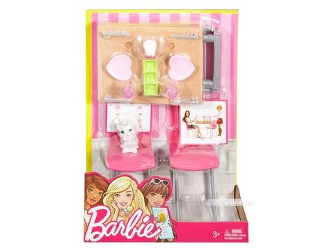 Barbie Nội thất nhà bếp - Bộ bàn ăn và thú cưng - Hình ảnh vỏ hộp sản phẩm