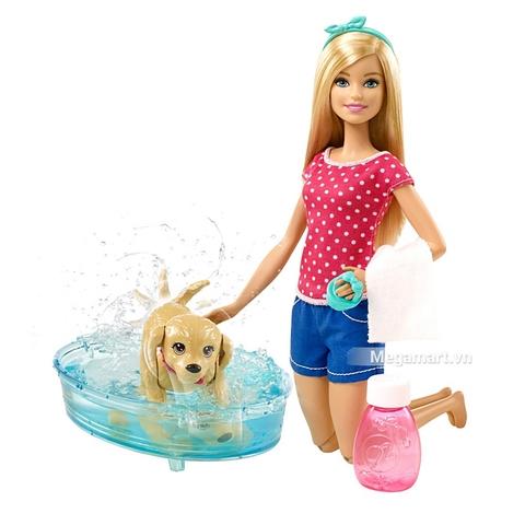 Barbie bộ đồ chơi phòng tắm thú cưng và Búp bê chính hãng