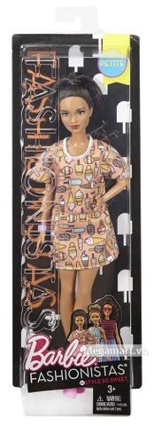 Barbie Fashionistas - Dáng nhỏ, áo hình kem Vỏ hộp sản phẩm từ bên ngoài