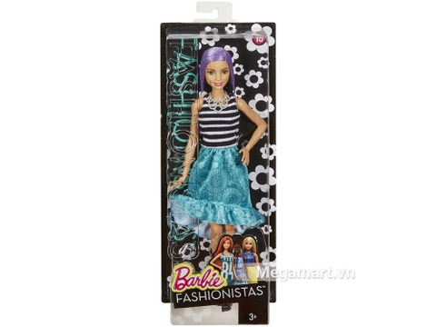 Barbie Fashionistas - Tóc tím với vỏ hộp và đóng gói chắc chắn