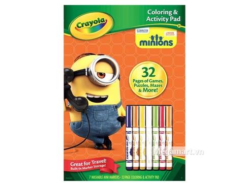 Hình ảnh vỏ hộp bộ Crayola Bộ bút giấy tô màu và câu đố hình Minions (7 bút lông tẩy rửa được, 32 trang giấy)