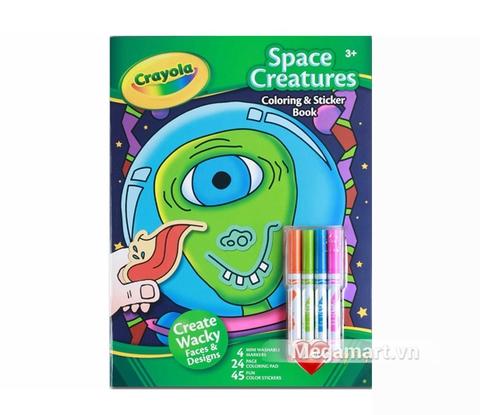 Thiết kế ấn tượng của Crayola Bộ bút lông 4 màu và giấy tô màu 2 mặt