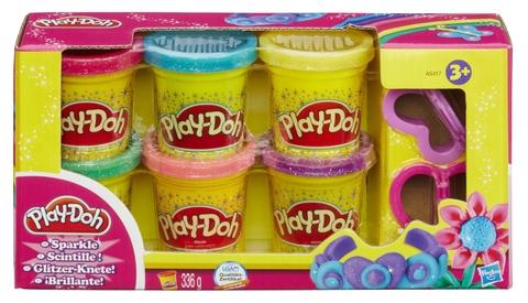 Hình ảnh vỏ hộp bộ Play-Doh Bột nặn 6 màu lấp lánh