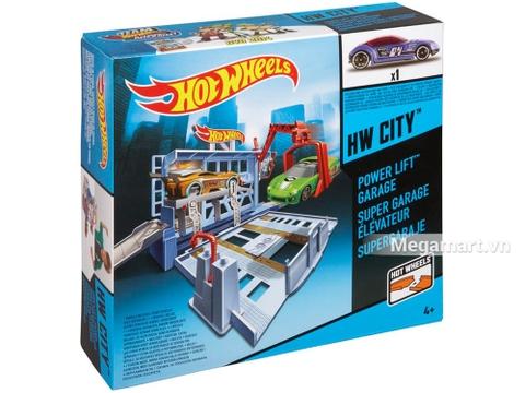 Vỏ hộp của sản phẩm đồ chơi Hot Wheels Trạm gara thang máy