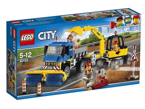 Hình ảnh vỏ hộp bộ Lego City 60152 - Xe quét và xe đào đường