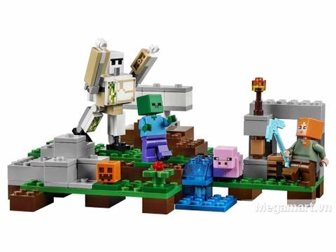 Lego Minecraft 21123 - Hộ vệ sắt Golem - toàn cảnh bộ đồ chơi